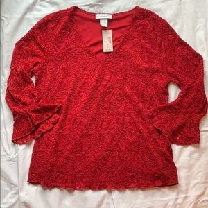 NWT Dressbarn Red Lace Blouse w/ Bell Sleeves